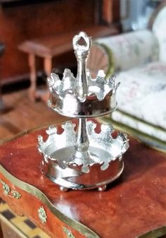 EUGENE KUPJACK DOLLHOUSE MINIATURES STERLING SILVER TWO TIER FLOWER BASKET #EugeneKupjack