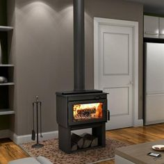 """Drolet DB03200 Deco Contemporary-Style Wood Stove Lowes, $1281 77%efficient glass=18.125""""x7.375"""""""