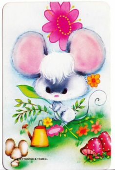 vintage SWAP CARDs 1970s Blank back cute little garden mouse