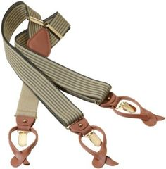 "Geoffrey Beene Men's Vertical Stripe Suspender,Khaki/Grey,One Size. Convertible Braces are easily converted from ""clip-end"" to ""button-end"" to go with any style pants. Simply un-snap the leather end and take off either the leather button ends OR the metal clips to customize your suspenders. Great for a gift where you aren't sure what the preference is! These Braces are made of 1.5"" wide elastic Woven Nylon material with leather convertible ends in a Y back construction. In addition they have…"
