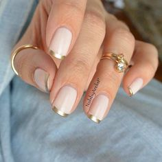 Tip nail designs french nails, gold french tip, summer french manicure, f. French Nails, Gold French Tip, French Manicure Nails, Manicure Y Pedicure, Manicure Ideas, French Tip Toes, Reverse French Manicure, French Pedicure, Nail Art Designs