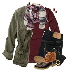 Plaid scarf, burgundy & army green by steffiestaffie on Polyvore featuring Hollister Co., L.L.Bean, FOSSIL, Michael Kors, Kendra Scott and Pieces