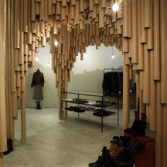 Japanese architects Suppose Design Office have completed a boutique made of cardboard tubes in a Hiroshima shopping centre.