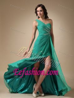 Empire One Shoulder Chiffon Beaded And Ruched Prom Gown Dress With High Slit