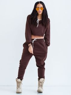 023d08e829 Sorella Dont Sweat It Sweatsuit -Dark Brown