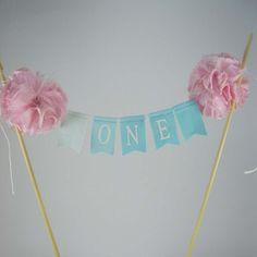 Cake banner smash cake  pink aqua birthday by Hartranftdesign, $24.50