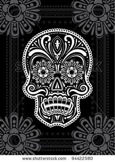 Black and white sugar skull -- intricate