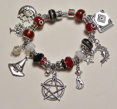 WICCAN PAGAN / / European Charm Bracelet / Blessed with Spell of Protection Custom Order /BEST Seller via Etsy