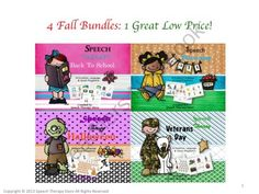 Speech Therapy 4 Fall Holiday Bundles Get 1 FREE from Speech Therapy on TeachersNotebook.com -  (191 pages)  - Speech Therapy 4 Fall Holiday Bundles Get 1 FREE