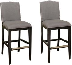 American Heritage Billiards 126893BLK-SMK Transitional Counter Stool - Set of 2