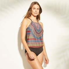 5959e32d8198d Women's High Neck Blouson One Piece Swimsuit - Clean Water Tribal Print L  #Blouson,