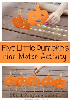 Five Little Pumpkins Fine Motor Retelling Activity from Still Playing School - repinned by @PediaStaff – Please Visit ht.ly/63sNtfor all our ped therapy, school & special ed pins