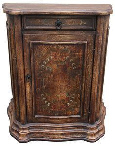Hand painted Chest in warm colors inspired by Italian designs. Hand crafted can be used as an entry piece, chest or nightstand Old World Furniture, Tuscan Furniture, Hand Painted Furniture, Handmade Furniture, Wood Buffet, Modern Rustic Homes, Painted Chest, Tuscan House, Wood Chest