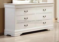Louis Philippe 6 Drawer Dresser in White