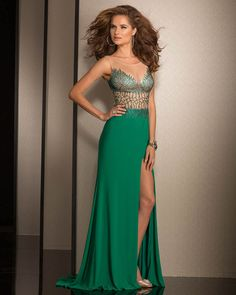 2015 Scoop Split Front Green Beading Chiffon Tulle Floor Length Sleeveless Evening / Homecoming / Prom Dress By Clarisse 989