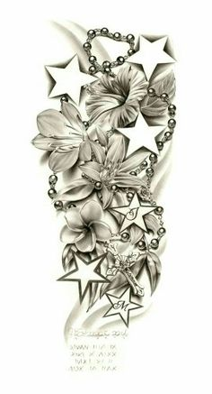 Star, flowers, and rosary...mom