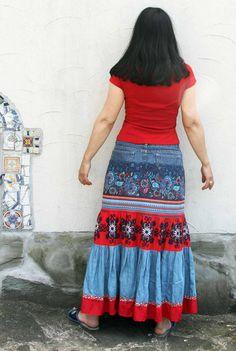 M-L Floral folk denim jeans recycled patchwork por jamfashion