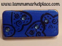 Blue Domino Pin with Hearts and Jewels MKP037 – Tamm's Marketplace