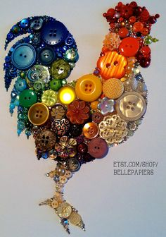 9x12 Kitchen Rooster Kitchen Art Buttons and Swarovski Unique Christmas Gift Unique Hanukkah Gift on Etsy, $184.00