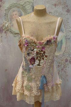 Vintage boudoir top  bohemian romantic altered by FleursBoheme
