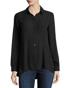 5Twelve Long-Sleeve Flutter-Hem Blouse, Black  New offer @@@ Price :$98 Price Sale $53
