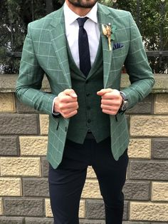 SlimFit Plaid Suit Vest Green is part of Suit vest - Available Size material cotton , linenMachine washable No Fitting slimfit Remarks Dry Cleaner Blazer Outfits Men, Stylish Mens Outfits, Cool Outfits For Men, Summer Outfits, Plaid Suit, Suit Vest, Dress Suits For Men, Men Dress, Dress Shoes