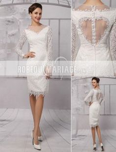 Col rond robe de mariée civile en dentelle avec manches longues