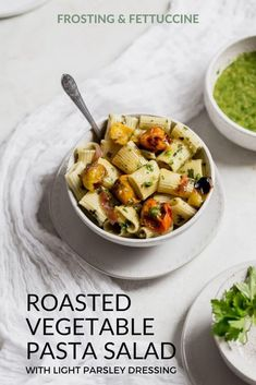 This easy vegetarian pasta salad is bursting with roasted vegetables, and is dressed in a light parsley dressing. The perfect easy and light weeknight or summer meal! #Kosher #Pasta #VegetarianMainDishes #SummerPastaSalad Summer Pasta Dishes, Best Pasta Dishes, Summer Pasta Salad, Roasted Vegetable Pasta, Vegetable Pasta Salads, Roasted Vegetables, Light Pasta Recipes, Easy Salad Recipes, Veggie Side Dishes