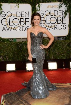 Kate Beckinsale at the Golden Globes 2014, dress looks good but she looks like she had work done on her face