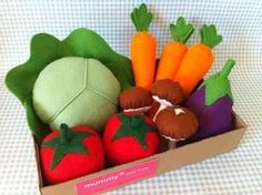 Box of felt vegetables