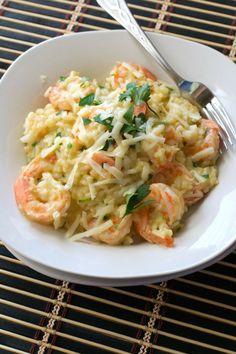 Asiago Shrimp Risotto - Electric pressure cooker makes quick and easy risotto. - Asiago Shrimp Risotto – Electric pressure cooker makes quick and easy risotto. Loaded with shrimp, - Fish Recipes, Seafood Recipes, Dinner Recipes, Healthy Recipes, Recipies, Cheese Recipes, Shrimp And Rice Recipes, Lobster Recipes, Potluck Recipes