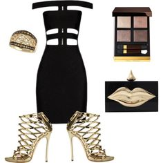 BLACK AND GOLD by samnoelyn on Polyvore featuring Balmain, Dsquared2, Charlotte Olympia, LE VIAN and Tom Ford
