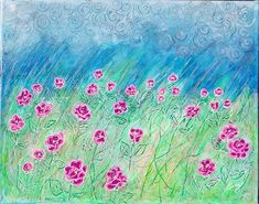 Mixed Media Painting, Mixed Media Canvas, Texture Painting, Cloud Decoration, Pink Hydrangea, Hydrangeas, Neon Flowers, Neon Painting, Flower Canvas