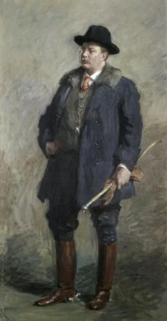 Gari Melchers - American Realist artist, (1860-1932) - Painting of Gilded Age, Theodore Roosevelt, 25th Vice-President and, 26th President of the United States c.1901.