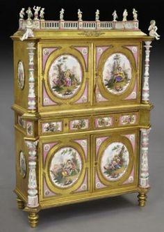 German Renaissance Revival KPM mounted cabinet, : Lot 154