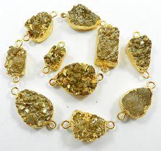 20.12Gm fabulous 10 Pcs lot Coated Golden Druzy Brass bracelet jewelry connector #MagicalCollection #Connectors