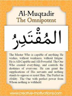 Names of Allah Al-Muqtadir Islam Religion, Islam Muslim, Islam Quran, True Religion, Allah Quotes, Quran Quotes, Islamic Inspirational Quotes, Islamic Quotes, Beautiful Names Of Allah