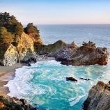 Julia Pfeiffer Burns State Park, Big Sur, CA  Two major Big Sur landmarks are located in this 3,583-acre park. Partington Cove is about 2 miles north of the park's entrance. Head inland via the Tan Bark Trail into the redwoods, turn around when you've had enough, and come down to the shoreline. The overlook of McWay Falls is one of the prettiest spots on the California coast. The falls plunge straight down 80 feet onto an inaccessible beach. A short trail starts from the park's main parking…