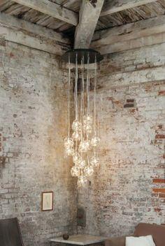 brick walls and hanging lights
