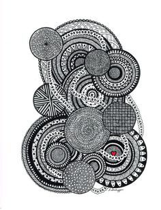 Black and White Zentangle Abstract by LimeGreenArtShop on Etsy, $18.62