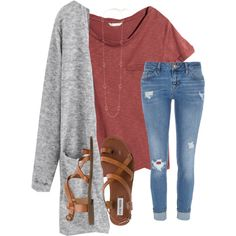 A fashion look from November 2017 featuring H&M t-shirts, River Island jeans and Steve Madden sandals. Browse and shop related looks.