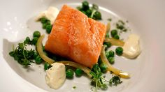 Confit Salmon with Green Pea Salad