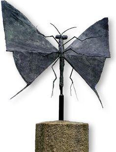 Bernard Buffet - Le papillon - 1975 bronze sculpture
