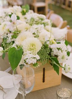 All white flower centerpiece.
