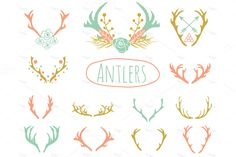 Antlers Clipart in EPS and PNG by Pixejoo on Creative Market
