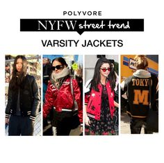 """""""NYFW Street Style Trend: Varsity Jackets"""" by polyvore-editorial ❤ liked on Polyvore featuring NYFW"""