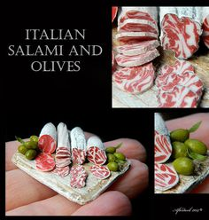 Held for Matthew - Italian Salami and Olives - Artisan fully Handmade Miniature in 12th scale. From After Dark miniatures.