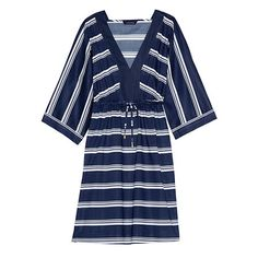 Women's Cotton Mid-Length Caftan Cover-up - Sailor Stripe from Lands' End Modern