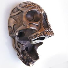 Beer Buddies Wall Mounted Bottle Opener Solid Bronze 3D Bar Accessory - Tribal Skull: Kitchen & Dining: Amazon.com
