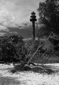 Sanibel Island Lighthouse Sanibel Island Light or Point Ybel Light in Black and White, Sanibel Island, Florida